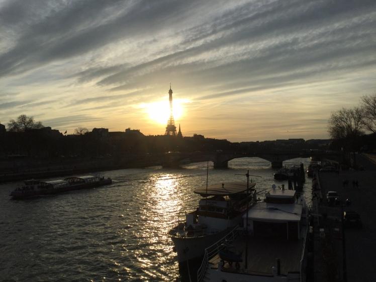 Paris Seine River, Eiffel Tower at Sunset